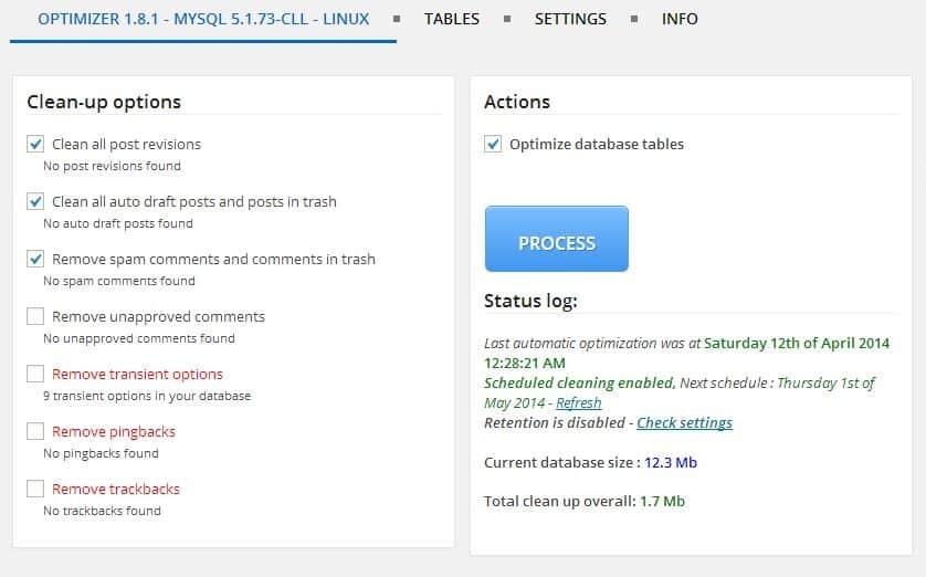 wordpress optimize database